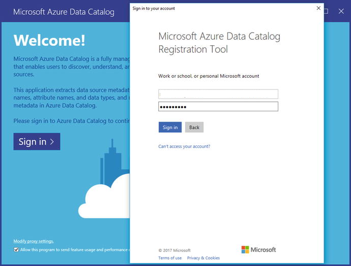 Microsoft Azure Data Catalog sign in screenshot