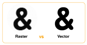 & symbol showing the differences between Raster (blurry) and Vector (clean) images