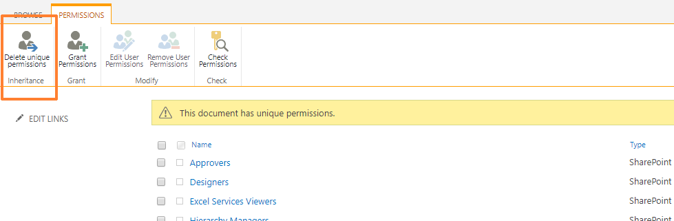 Delete unique permissions button in SharePoint