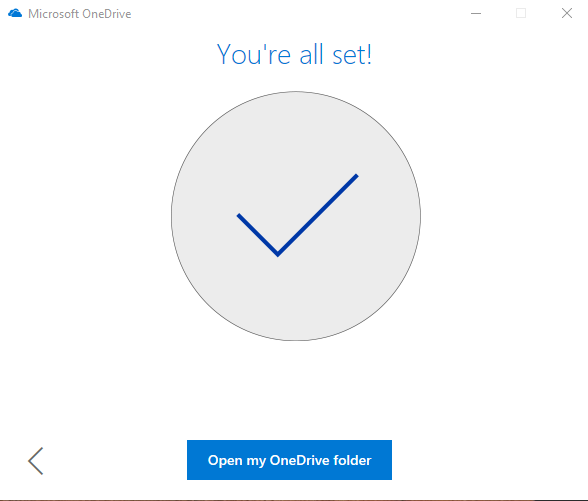 OneDrive sucess screen - 'You're all set'