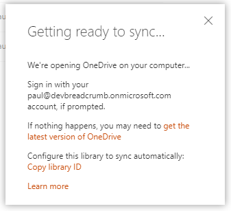 OneDrive getting ready to sync warning