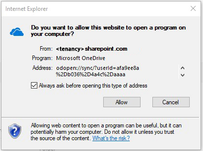 Internet explorer pop up window - Do you want to allow this website to open a program on your computer?