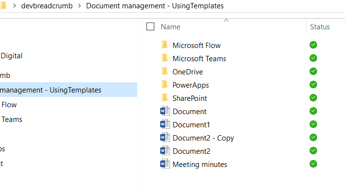 Green ticks show when a document has been downloaded from SharePoint