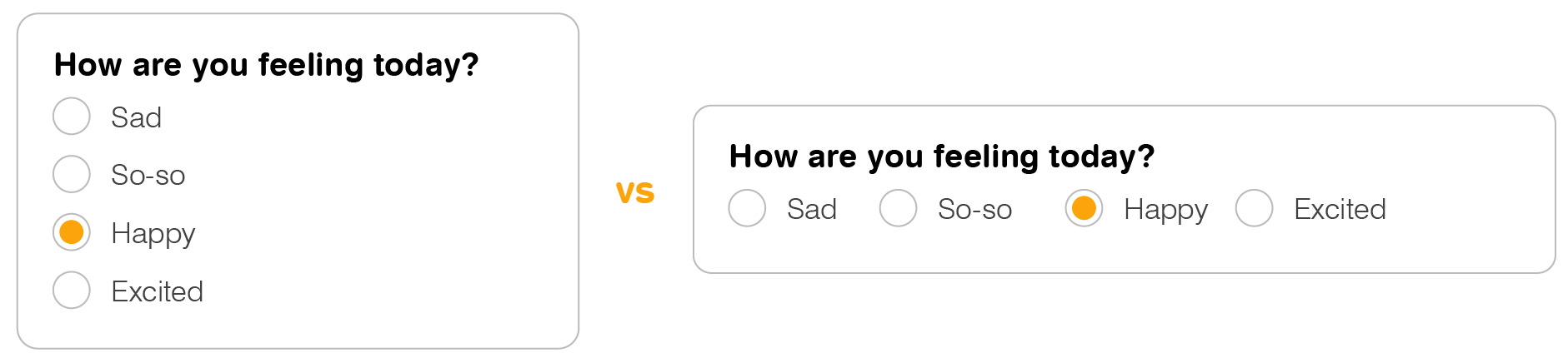 Vertically-stacked radio buttons vs side-by-side layout for radio buttons