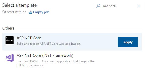 Azure DevOps screenshot for 'Select a template'