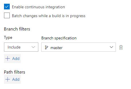 Azure DevOps screenshot - 'Branch filters'
