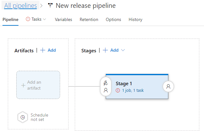 Azure DevOps screenshot - 'New release pipeline'