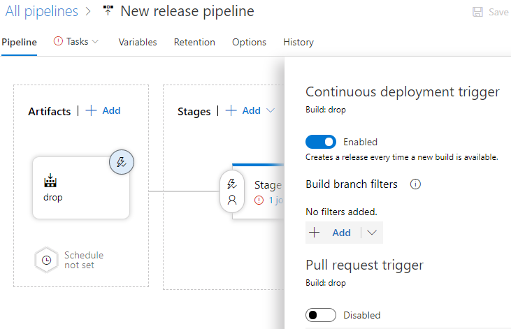 Azure DevOps screenshot - 'New release pipeline with drop down options for Triggers'