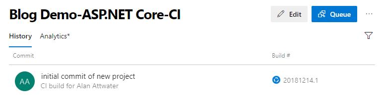 Visual Studio screenshot for CI Build