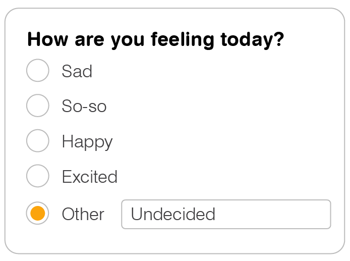 5 x Vertically-stacked radio buttons