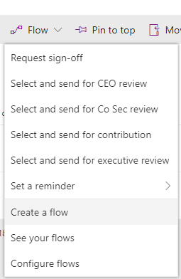 SharePoint library Flow drop down box with lots of flow options