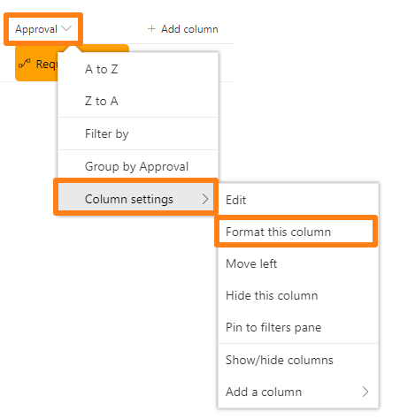 SharePoint library screenshot, showing Approval column settings