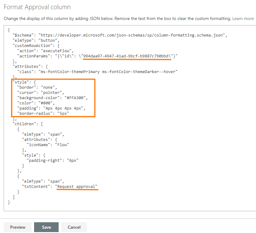 SharePoint screenshot to Format Approval column and the relevant JSON code