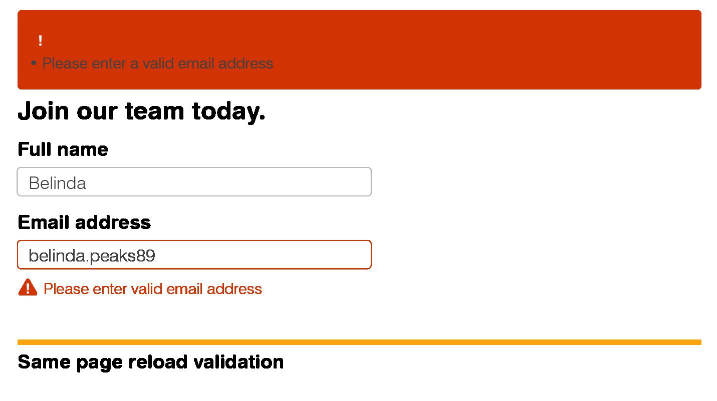 Same page reload validation screenshot.