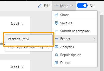 Microsoft Flow screenshot - More drop down options to Export