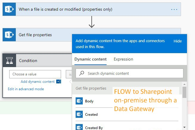 Screenshot of Microsoft Flow - data gateway and dynamic content options