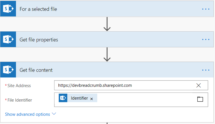 Screenshot of Microsoft Flow - 'Get file content' action.
