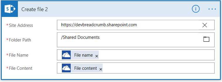 Screenshot of Microsoft Flow - 'Create file' action.