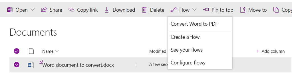Screenshot of SharePoint - Flow tab and relevant drop down options