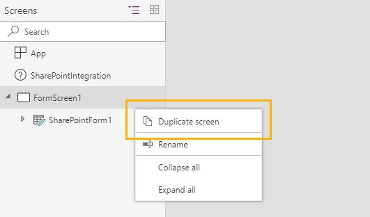 Screenshot of PowerApps menu -'FormScreen1 to Duplicate screen' options