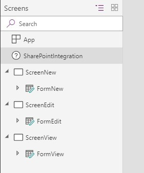 Screenshot of PowerApps with Duplicate Screens menu renamed