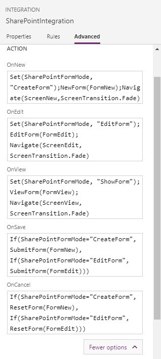 screenshot of PowerApps completed 'SharePointIntegration'