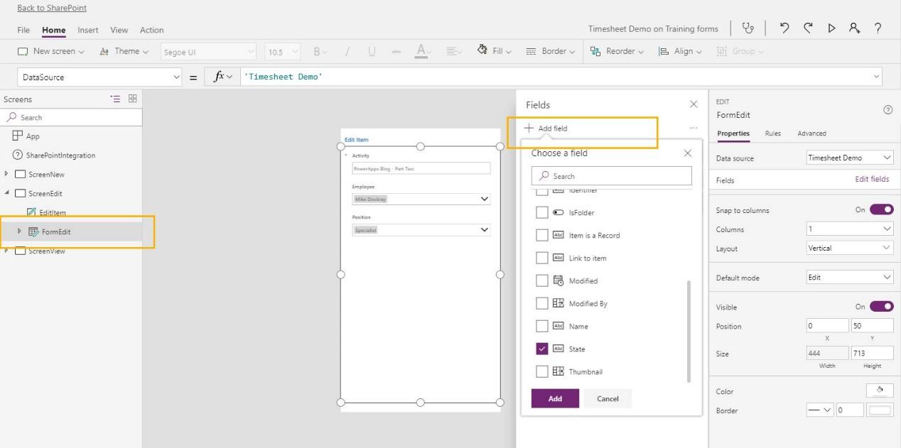 Screenshot of PowerApps menu - 'FormEdit'