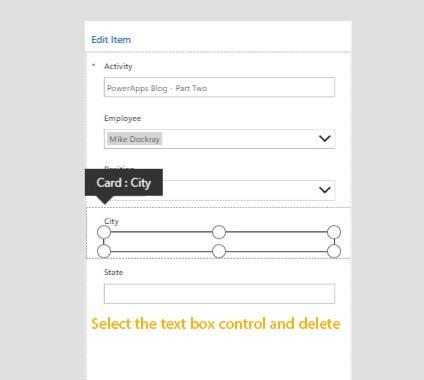 Screenshot of PowerApps - 'Edit item'