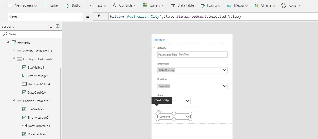 Screenshot of PowerApps with Edit items menu