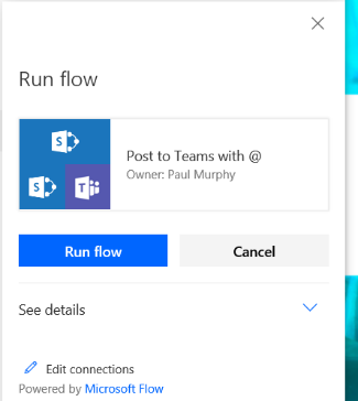 Screenshot of Microsoft Flow options