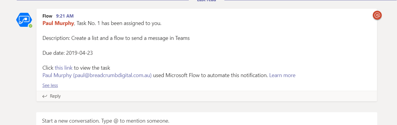 Screenshot of Microsoft Teams channel