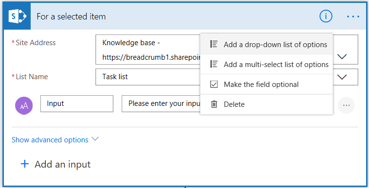 Screenshot of SharePoint Flow options