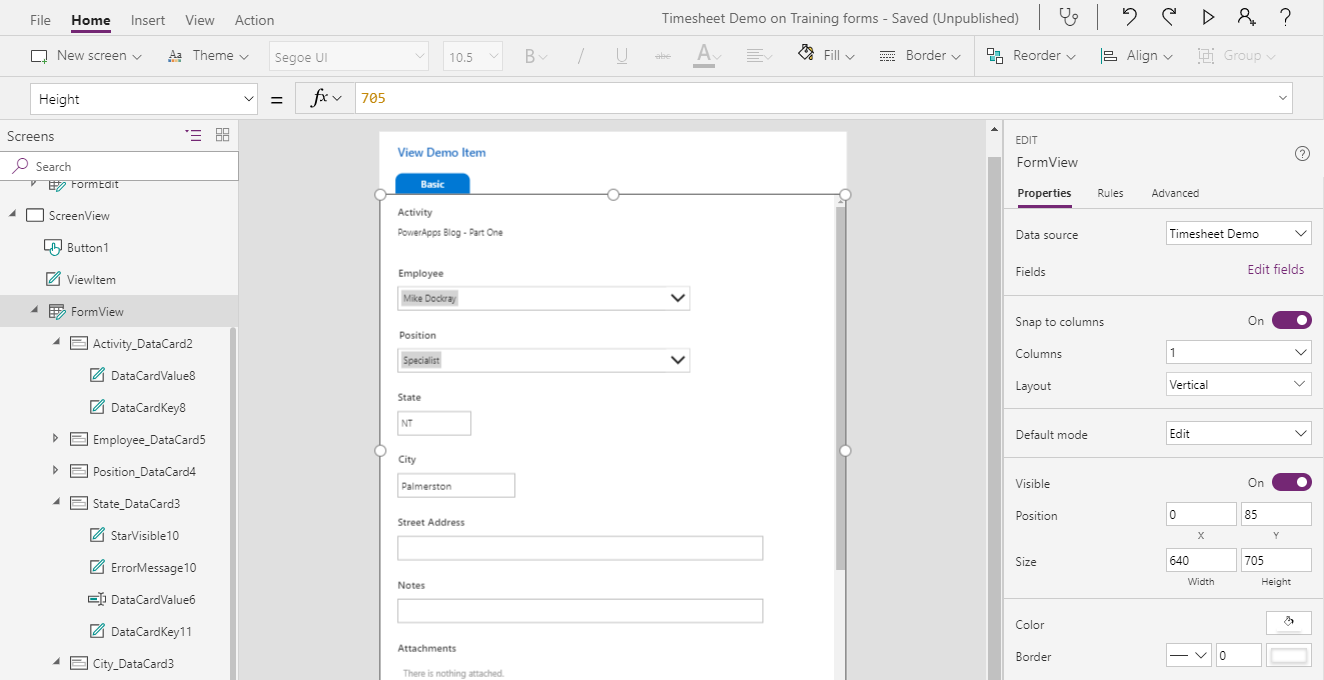 Screenshot of PowerApps options