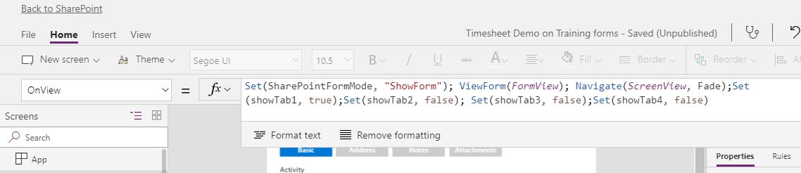 Screenshot of PowerApps options using SharePoint Integration