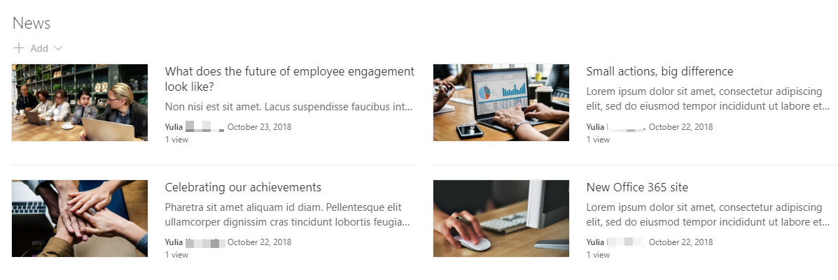 Screenshot of News web part in SharePoint - 4 images and news articles