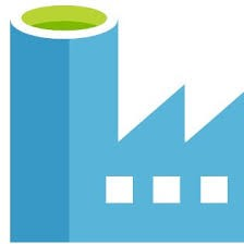Microsoft Azure Data Factory icon - a light blue factory with green at the top of the chimney