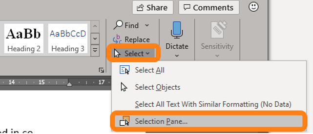 Selection Panel in the ribbon of Office documents